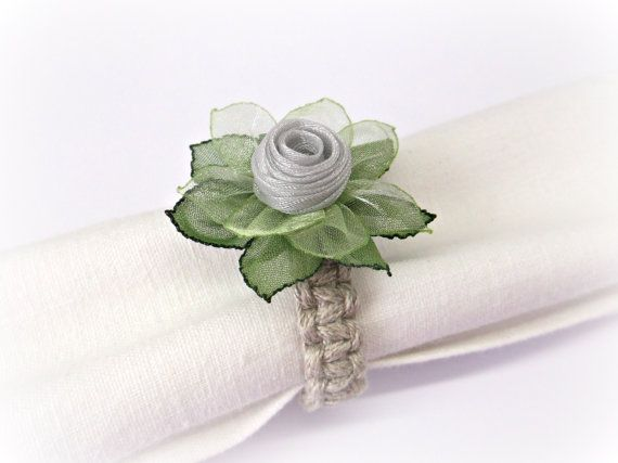 Grey and green silk flower napkin rings silver by homelikelinen grey and green silk flower napkin rings silver by homelikelinen mightylinksfo
