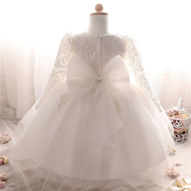 Langarm Mädchen Taufe Baby Kleider 1 Kleid Für Weiß Winter YIyv76gbf