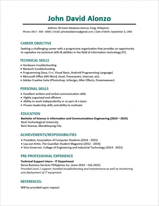 Resume Objective Sample Resume Format For Fresh Graduates One Page Format  Aditya