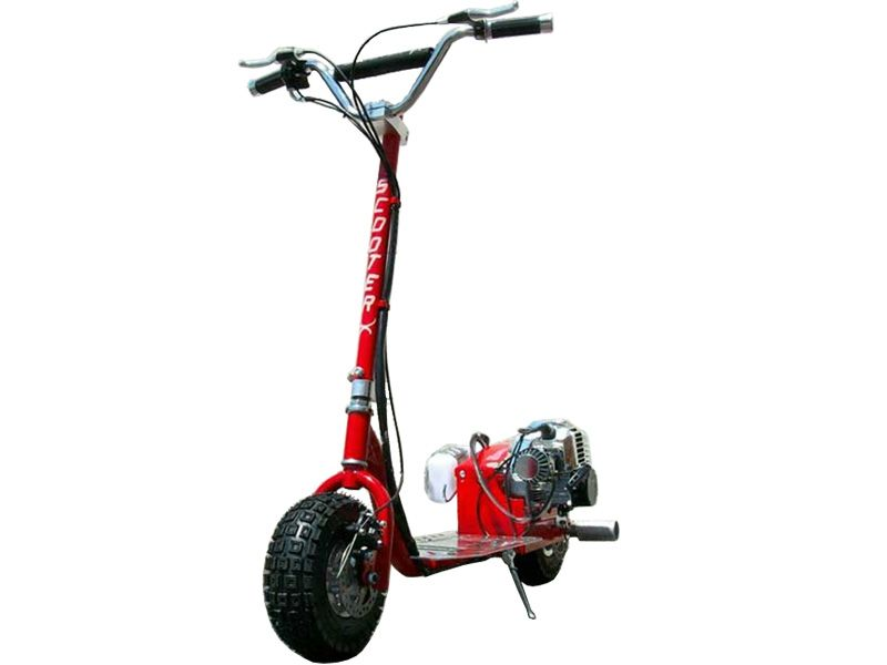 Scooterx dirt dog 49cc red gas scooter introducing the for Stand on scooters with motor