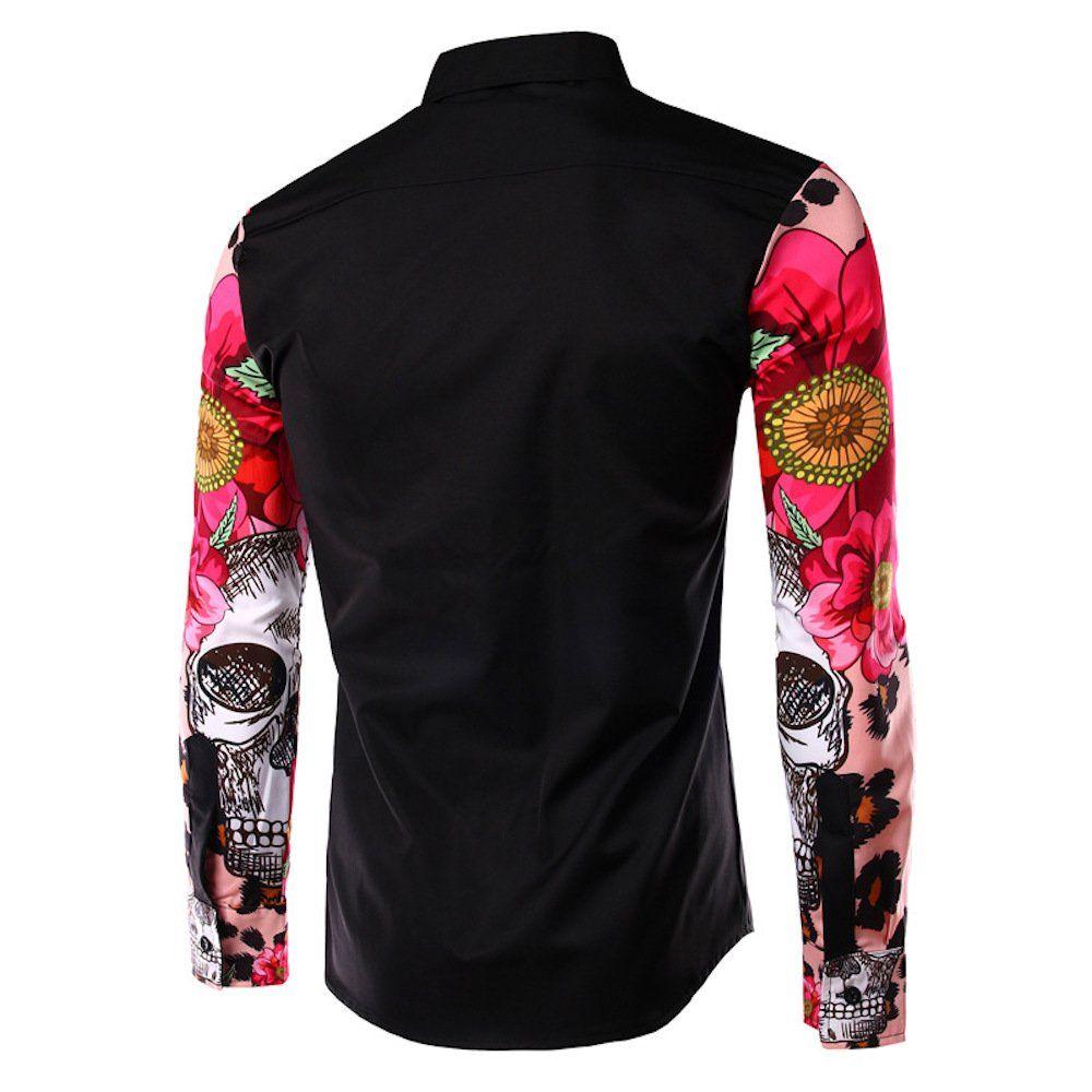 Whatlees Mens Fashion Long Sleeve Skull Print Slim Fit Casual Dress Shirts B029-black-XL