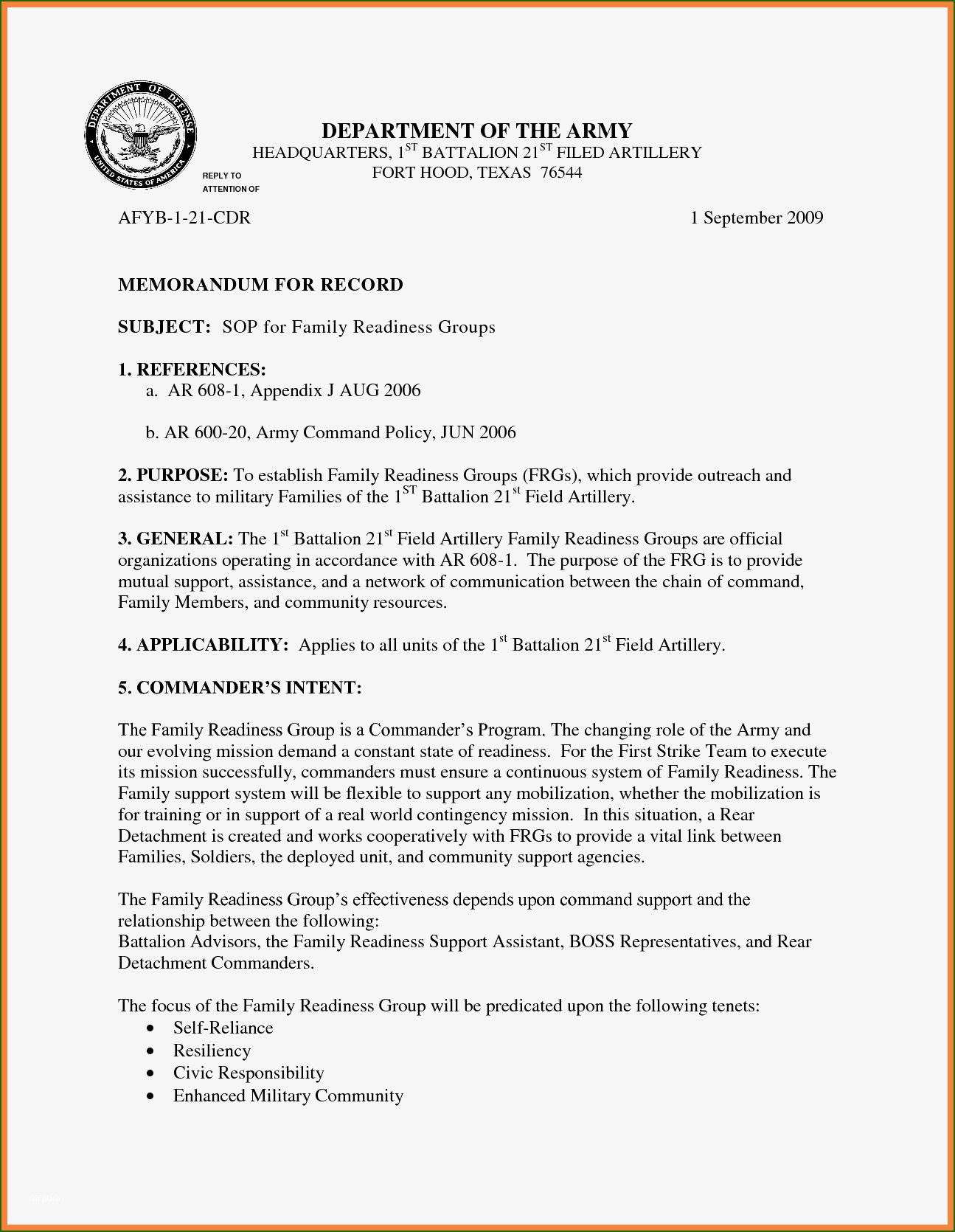 16 marvelous department of the army memorandum for record