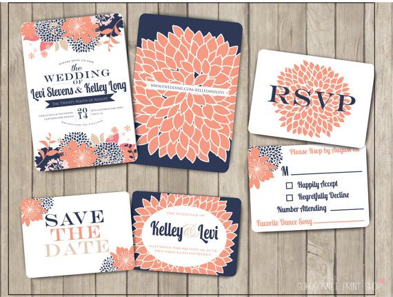 Navy Blue And Coral Pink Salmon Custom Wedding Invitation Suite Package  Modern Bold Floral Invite Digital