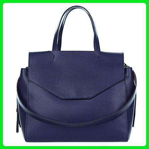 Gianni Chiarini Italian Made Navy Blue Leather Large Structured Tote Bag  with Pockets - Top handle c219c43ee95c0