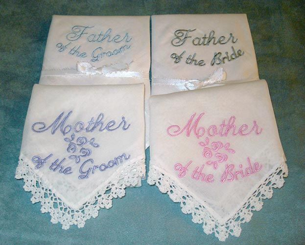 Personalized Wedding Favor - Wedding Handkerchief Bridal Hanky Hankie  Custom Embroidered For Bride, Mother of the Bride, Bridesmaids