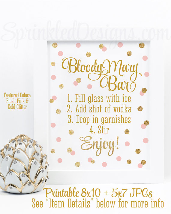 Bloody Mary Bar Sign Blush Pink Gold Glitter Baby Or Bridal Shower