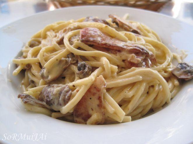 best white sauce pasta boscaiola white sauce pasta food recipes on hebbar s kitchen white sauce pasta id=77897