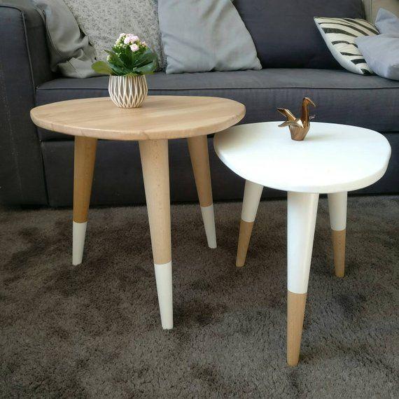 Beech Wooden Nesting Table Type Scandinavian White Pencil