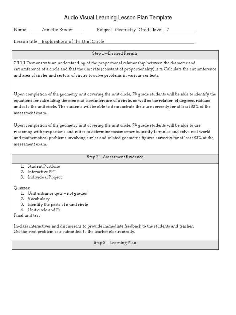 Quad D Lesson Plan Template Fresh Audio Visual Lesson Plan Circle Pi Lesson Plan Templates Lesson Plan Template Free Substitute Plans Template