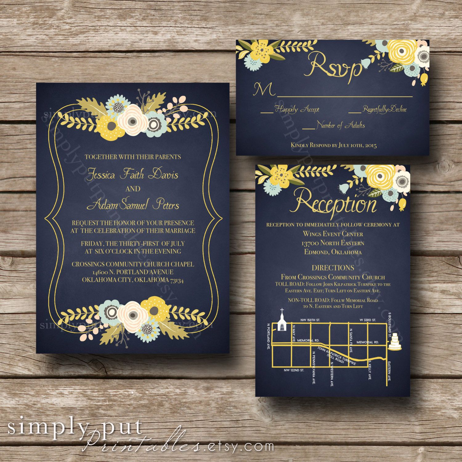 Navy Yellow Floral Wedding Invitation | Modern Wedding | Navy ...