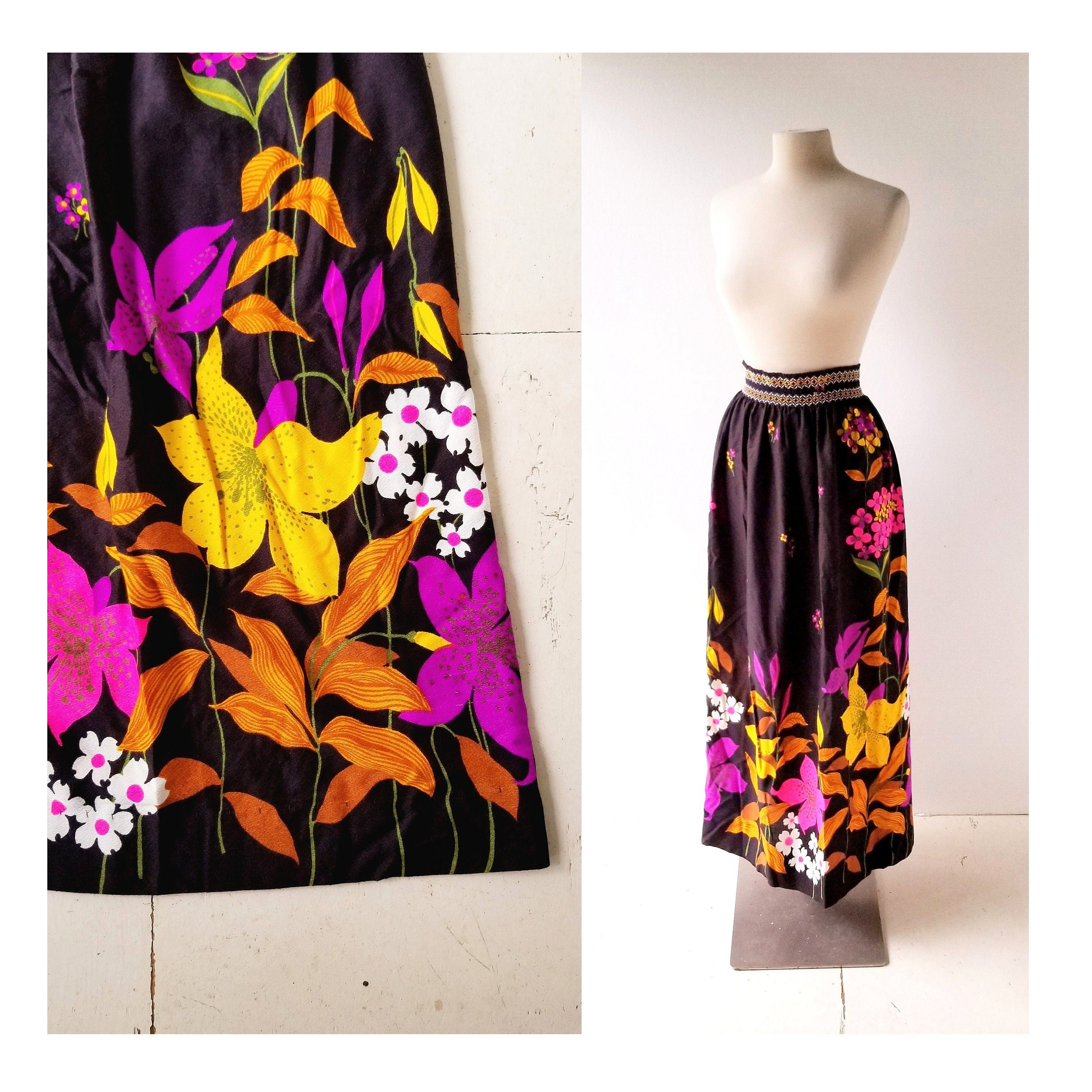 size sm 1970s Floral Print Skirt