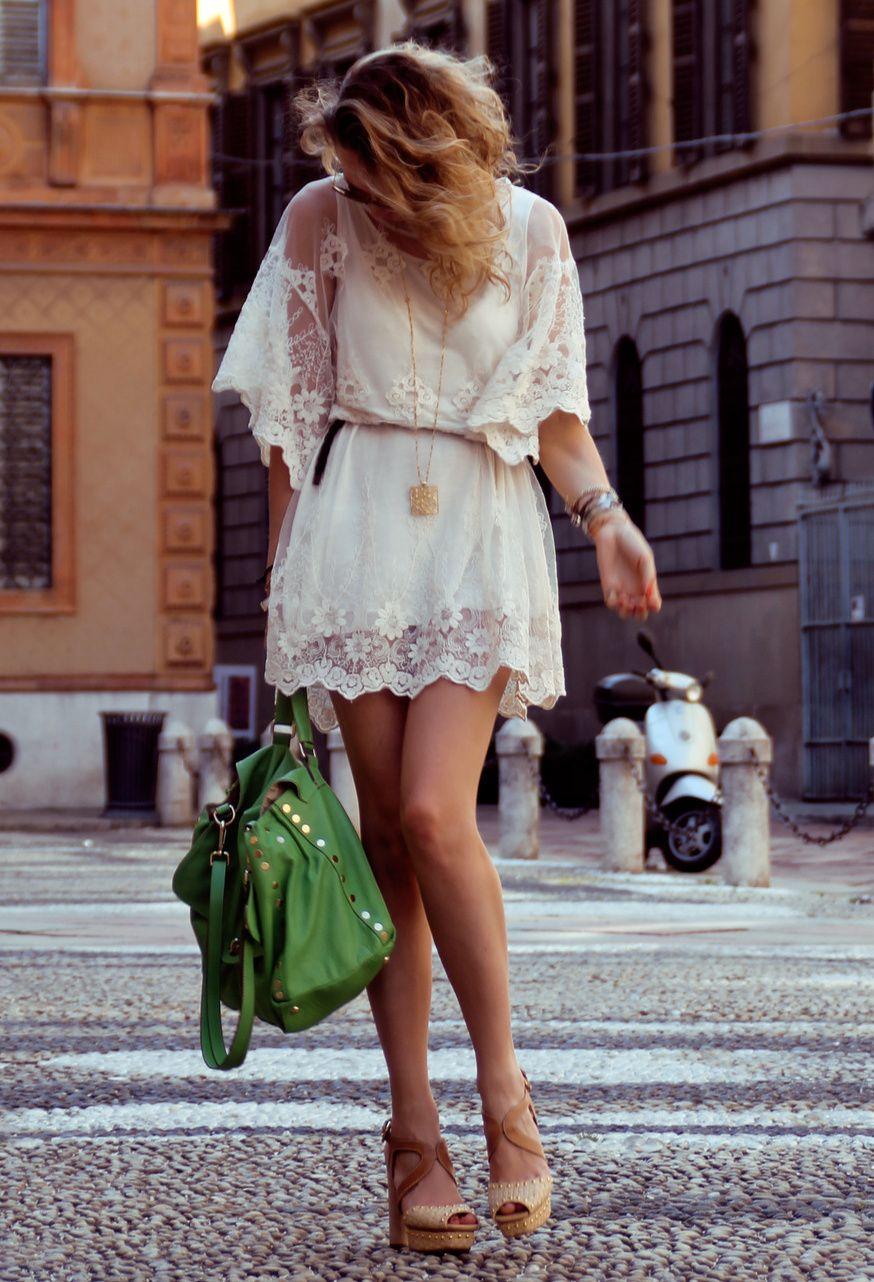 White lace dress zara  boho dress  fashion  Pinterest  Boho Zara dresses and Wedges