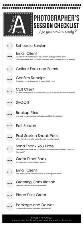 Free Photographers Workflow Checklist! Photographers and Photography