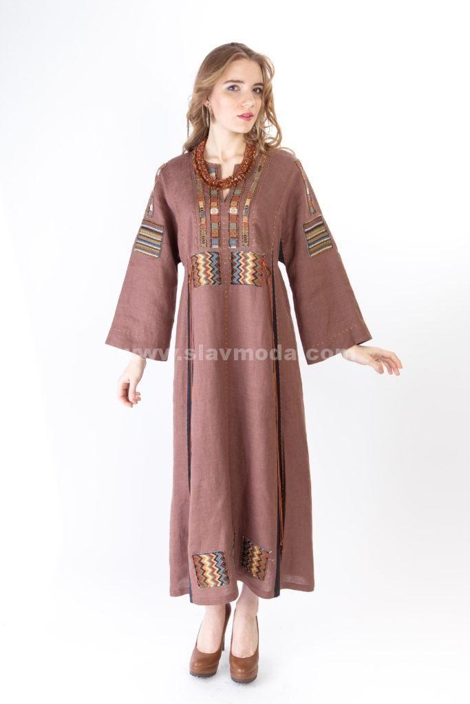 модные льняные платья в славянском стиле