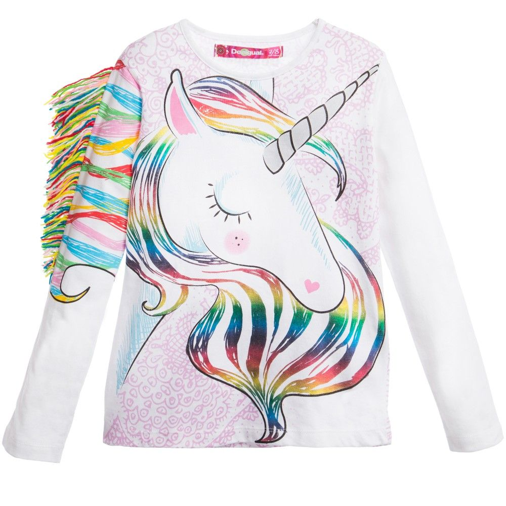 Uncategorized Girl Pictures To Print girls white unicorn print top and desigual at childrensalon com just for fun