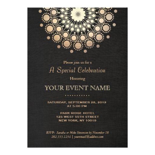 Elegant Gold Circle Motif Black Linen Look Formal Card Black linen - best of invitation name designs