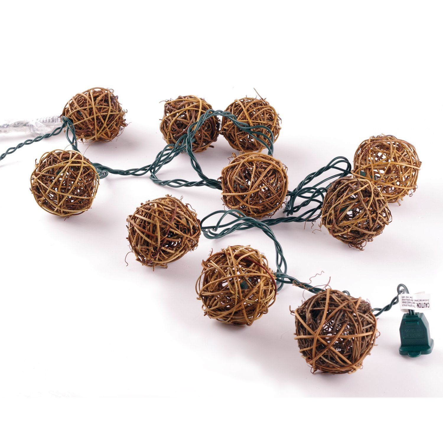 lidorebrown rattan balls string light set of 10 warm white light for christmas wedding garden patio and party incandescent four seasons courtyard 10