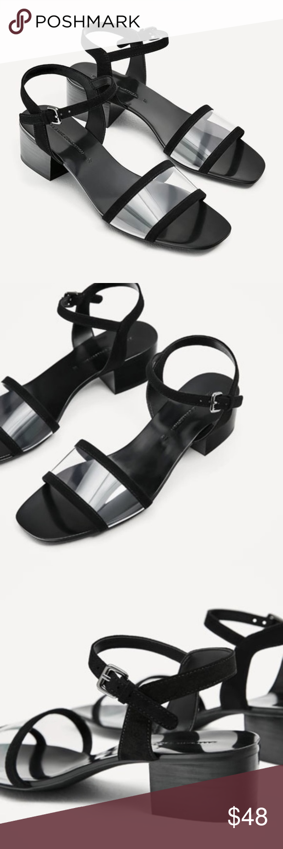 155afb83243 Zara Shoes | Zara Black Vinyl Mid Block Heel Ankle Strap Sandal ...