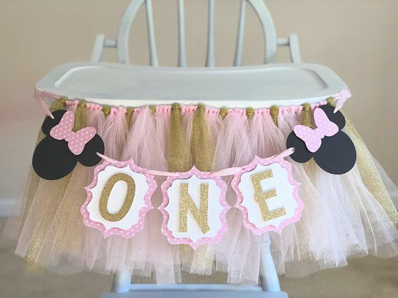 High Chair Banner Tulle Skirt  High Chair Tutu  Girl Pink and Gold First Birthday Party Dec High Chair Banner Tulle Skirt  High Chair Tutu  Girl Pink and Gold First Birth...