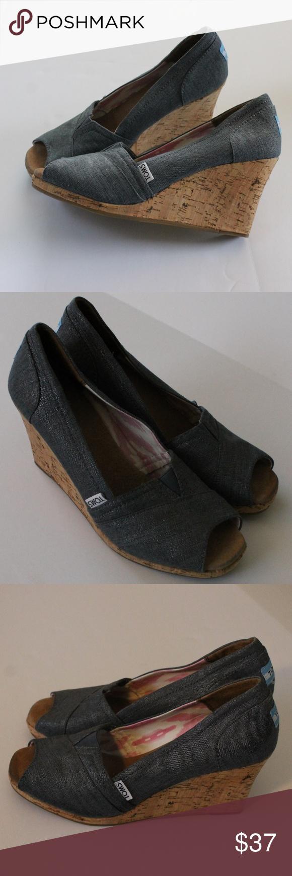 1652209718f Toms Peep Toe Wedge Heel Denim Shoe