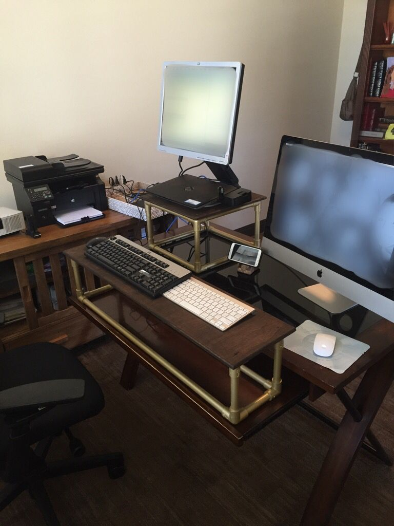 Pleasing Diy Standing Desk Conversion Made Out Of Pvc And Wood For Download Free Architecture Designs Grimeyleaguecom