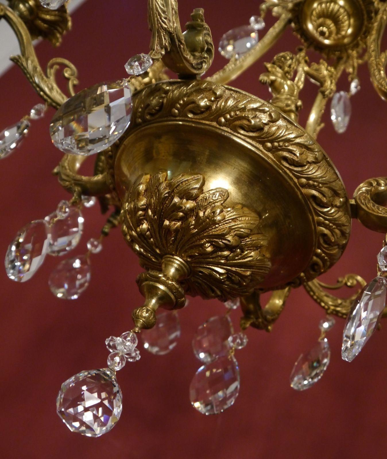 Wow very beautiful cherubs chandelier brass crystal old vintage wow very beautiful cherubs chandelier brass crystal old vintage antique arubaitofo Gallery