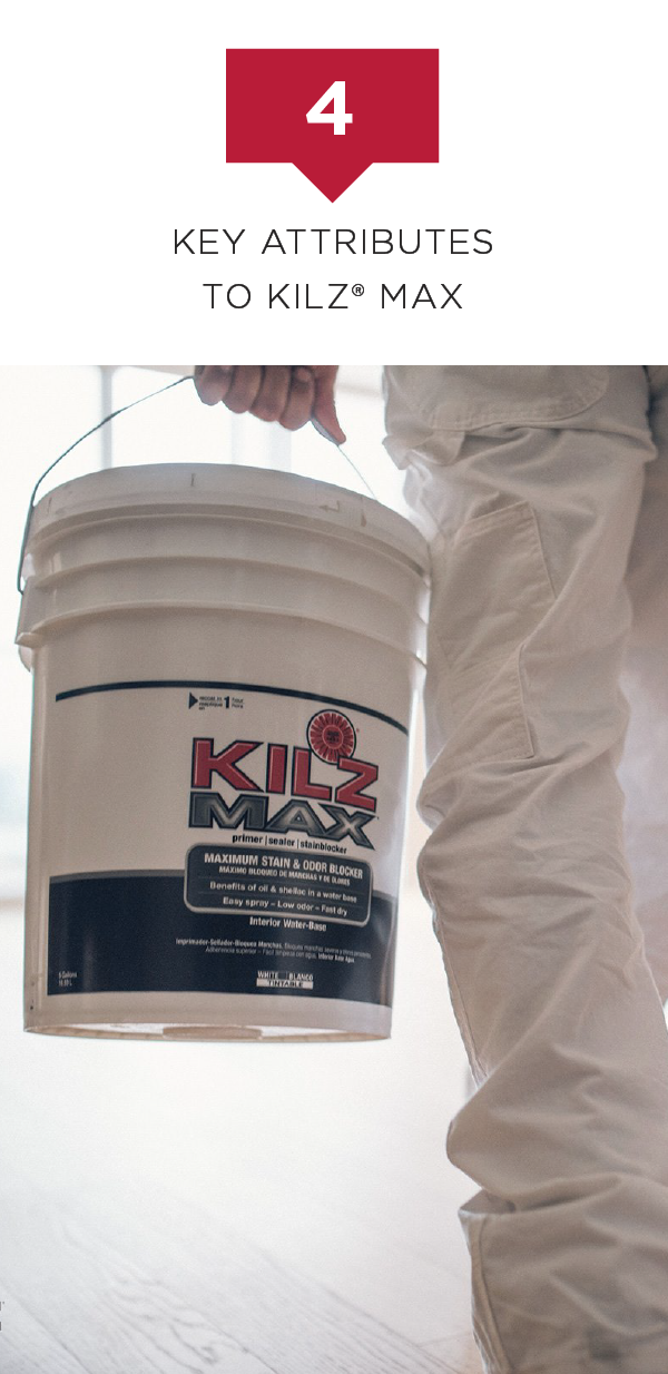 Use KILZ Max Interior Water-Base Primer on a variety of surfaces in