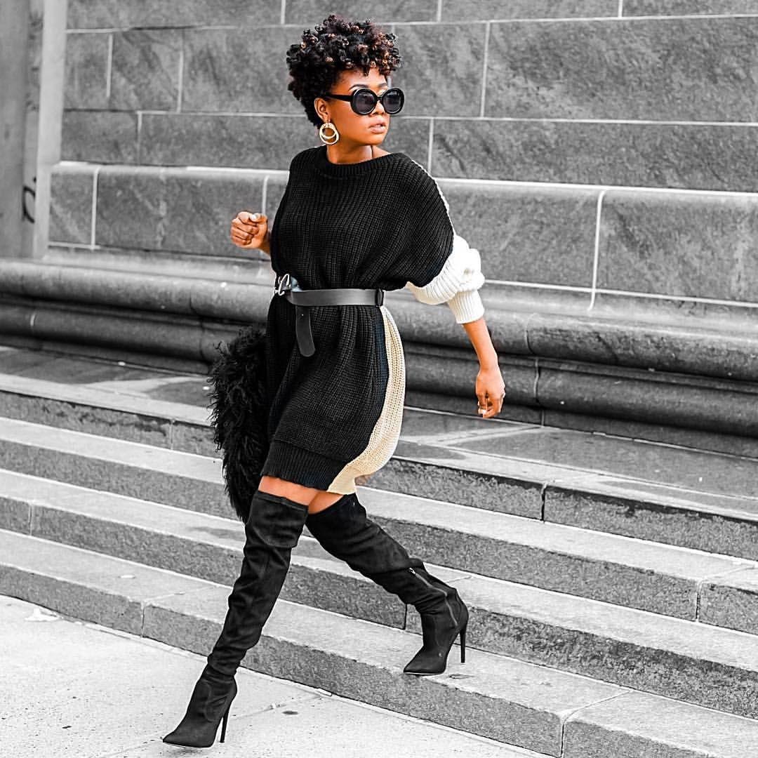 Black sweater dress outfit Lisaalamode.com | Fashion, Girls sweater dress, Sweater  dress