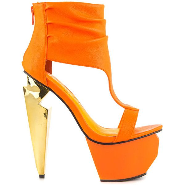 Neon sandals, Orange high heels, Orange