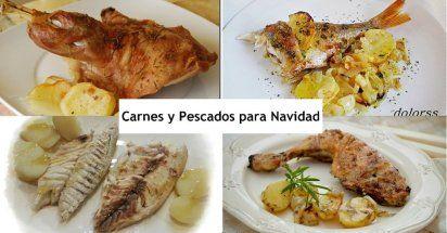 Platos de carne y pescado para Navidad