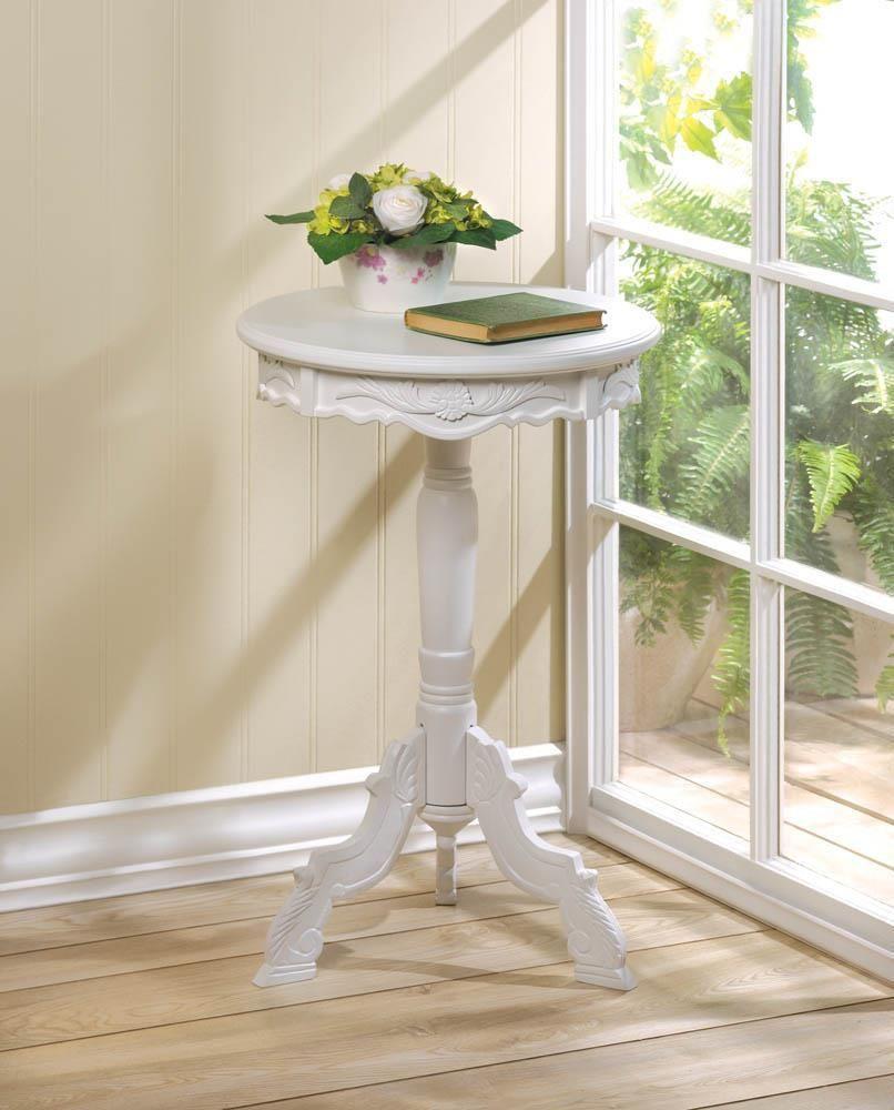 - Mini Rococo Accent Table Round Accent Table, White Accent Table
