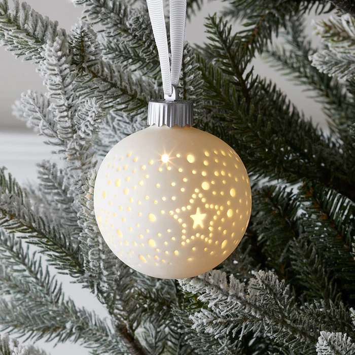 Ceramic Led Bauble In 2020 Indoor Christmas Lights Ceramic Christmas Decorations Battery Christmas Lights