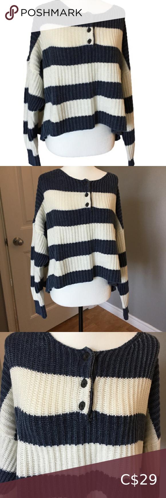 American Eagle Striped Crop Sweater