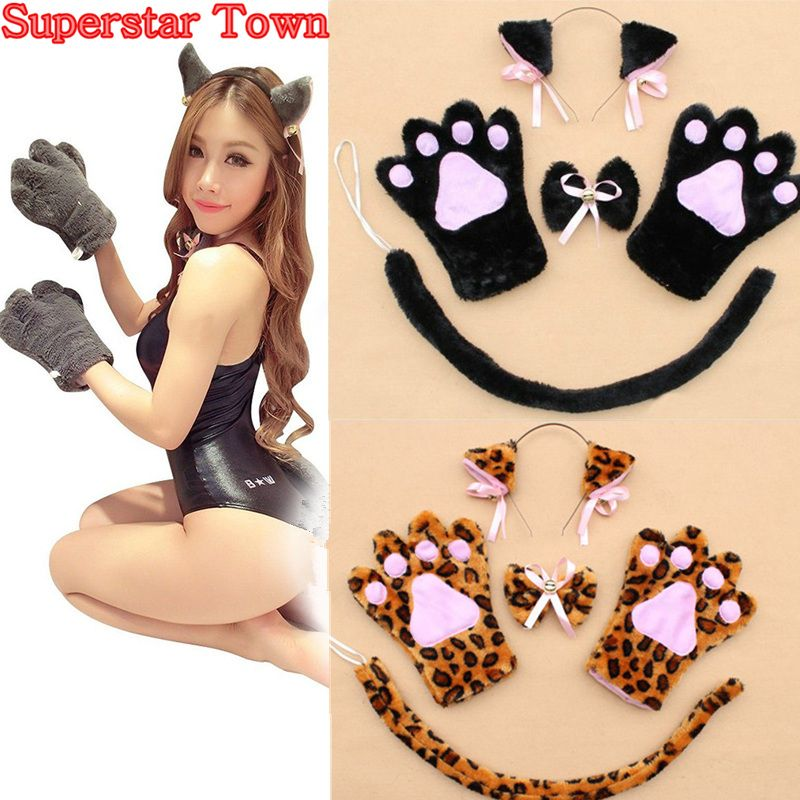 >> Click to Buy << Anime Cosplay Cat Costume Cat Ears Plush Paw Claw Gloves Tail Bow tie Cute Sexy Women Party Christmas Halloween Decor 1 Set  #Affiliate