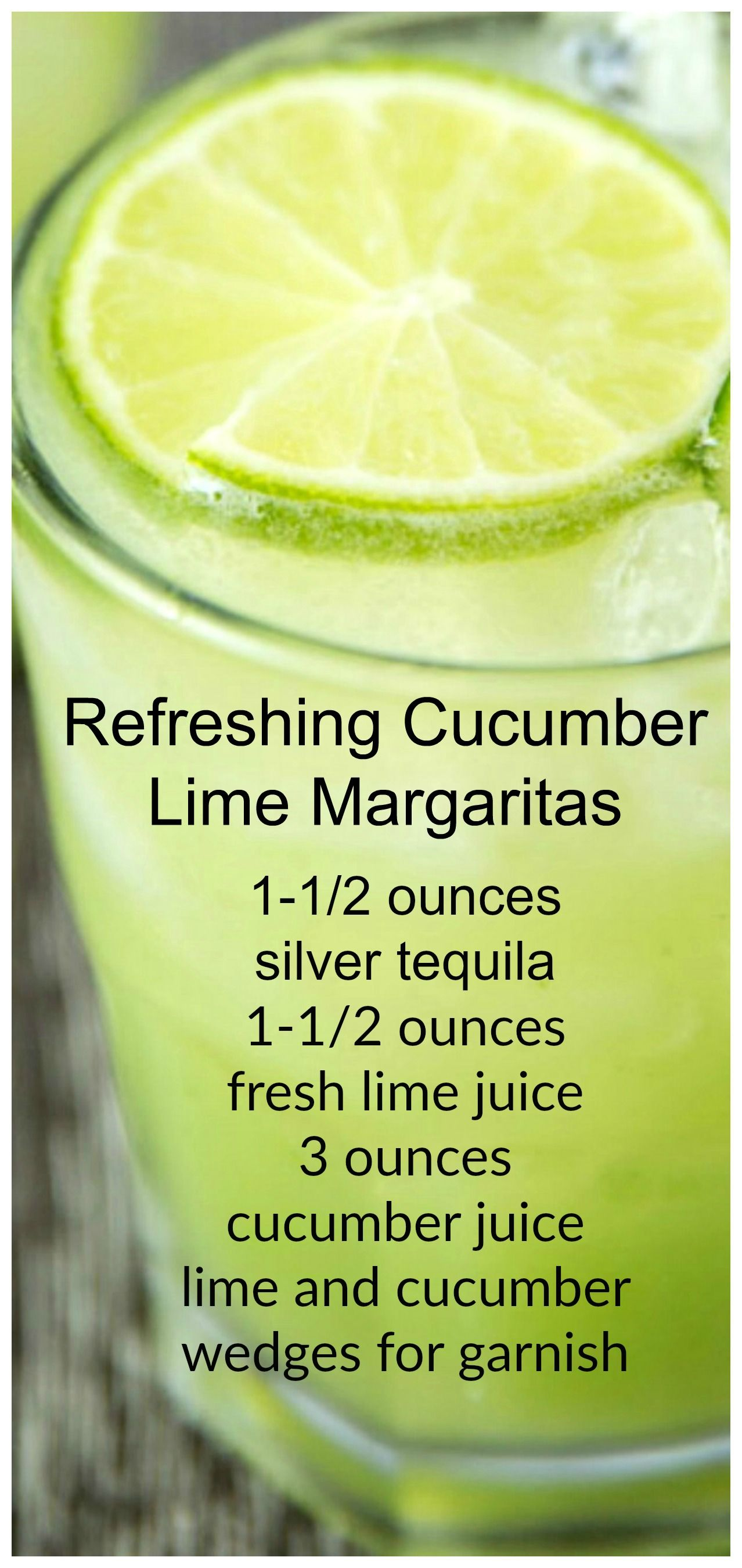 Refreshing Cucumber Lime Margaritas ~ Delicious and only has 135 calories... It's a drink both your mouth and waist will love. #tequiladrinks