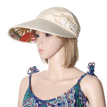 03c7852a8d2 Women Ladies Summer Outdoor Gardening Anti-UV Foldable Beach Sunscreen Sun  Hat Flower Print Cap