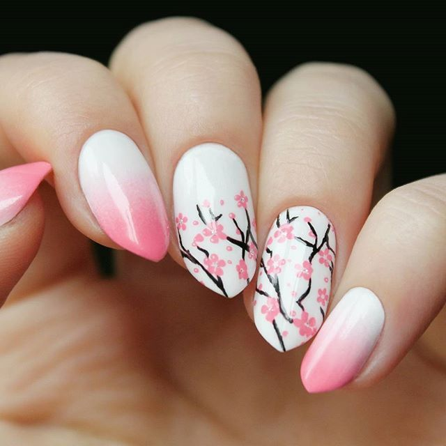 Instagram Photo By Daria Oct 21 2015 At 12 55pm Utc Cherry Blossom Nails Art Cherry Blossom Nails Floral Nails