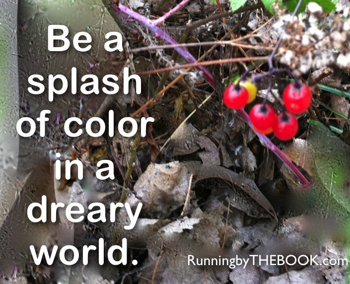 Took this pic on a run, reminded me to be that splash of color in this dark world!