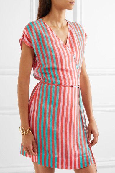 f8d7bf1ec72 Diane von Furstenberg - Striped Linen-blend Wrap Dress - Coral ...