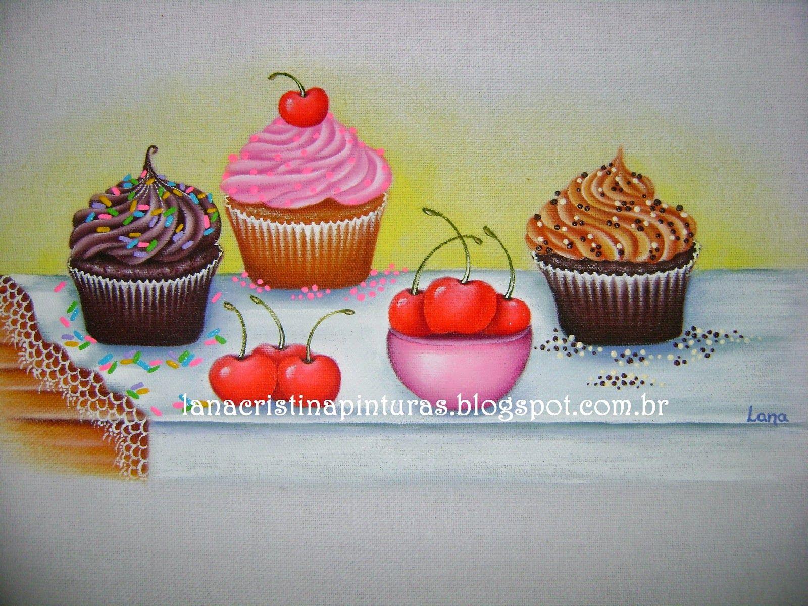 Cupcakes Pintura em Tecido | FRUTAS E LEGUMES | Pinterest
