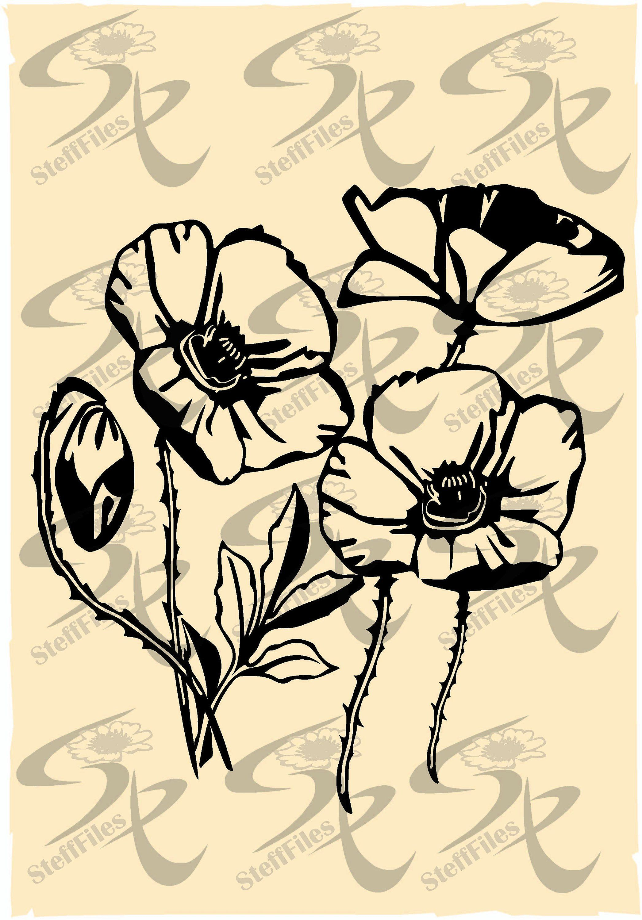 Vector POPPY FLOWERS clipart,SVG,dxf,ai, png, eps, jpg