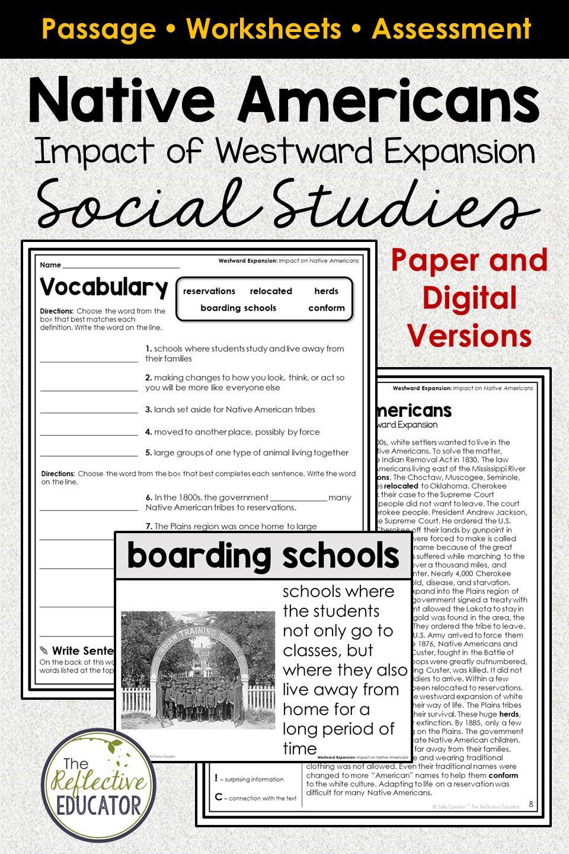 Native Americans Impact Of Westward Expansion Google Classroom Elementary Social Studies Lessons Social Studies Worksheets Upper Elementary Social Studies