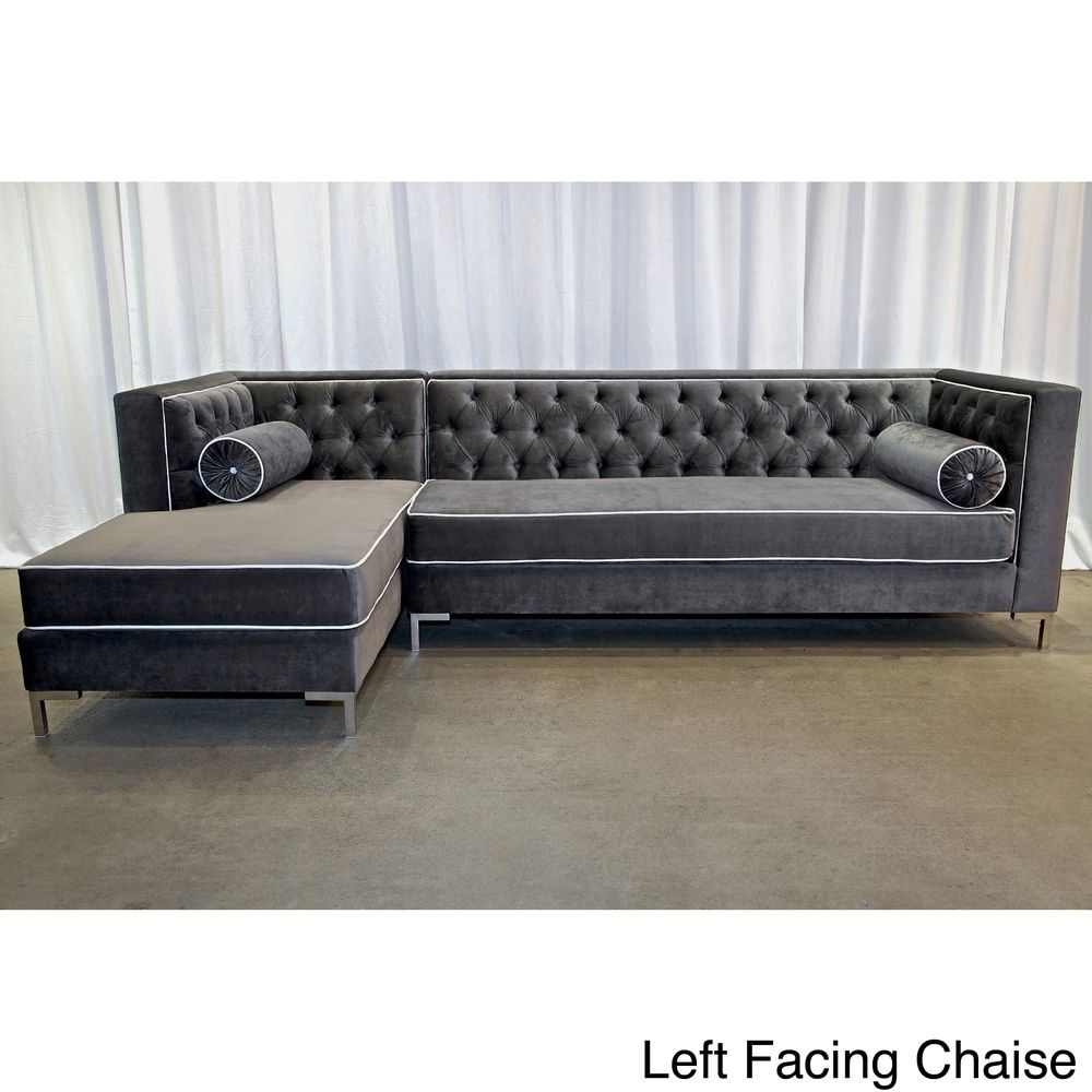 decenni tobias regency velvet tufted 8 foot sectional home goodies rh pinterest com 8 foot sectional sofa 8 foot sofa bed