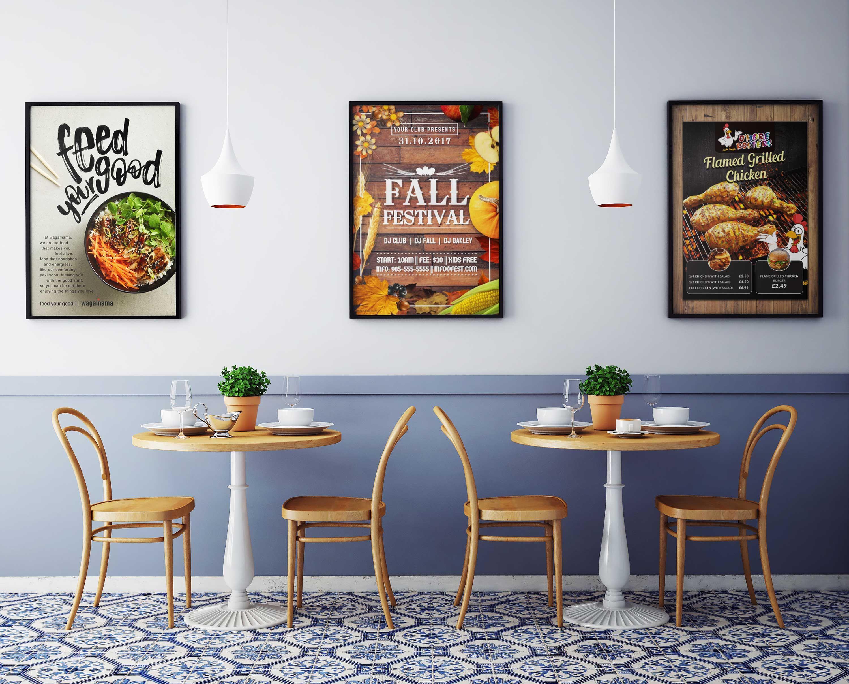 fast food corner wall posters mockup