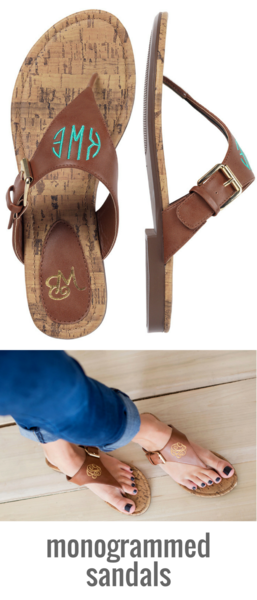 177918a68 Monogrammed Sandals Brown or Black Personalized Strap