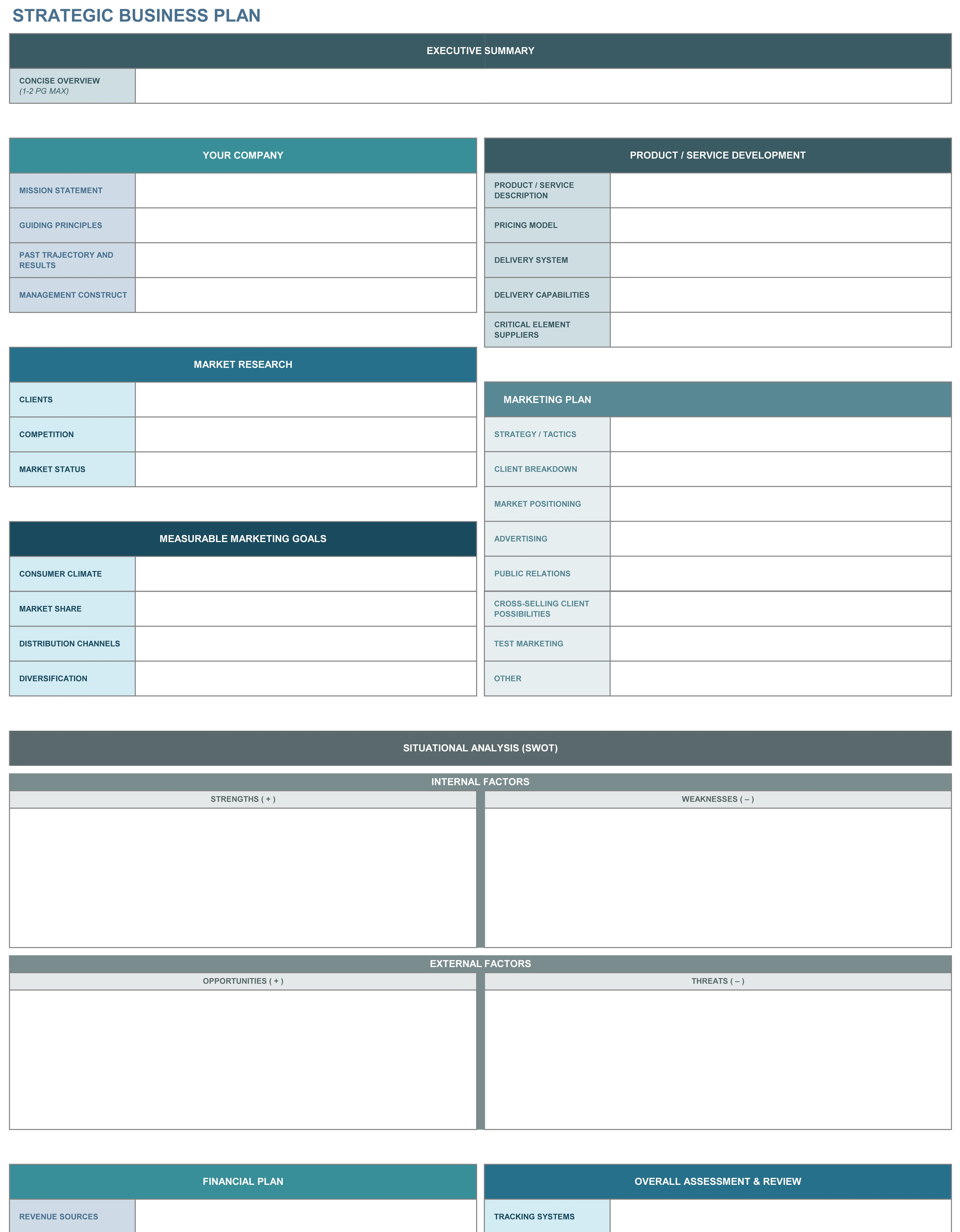 9 Free Strategic Business Plan Excel Templates