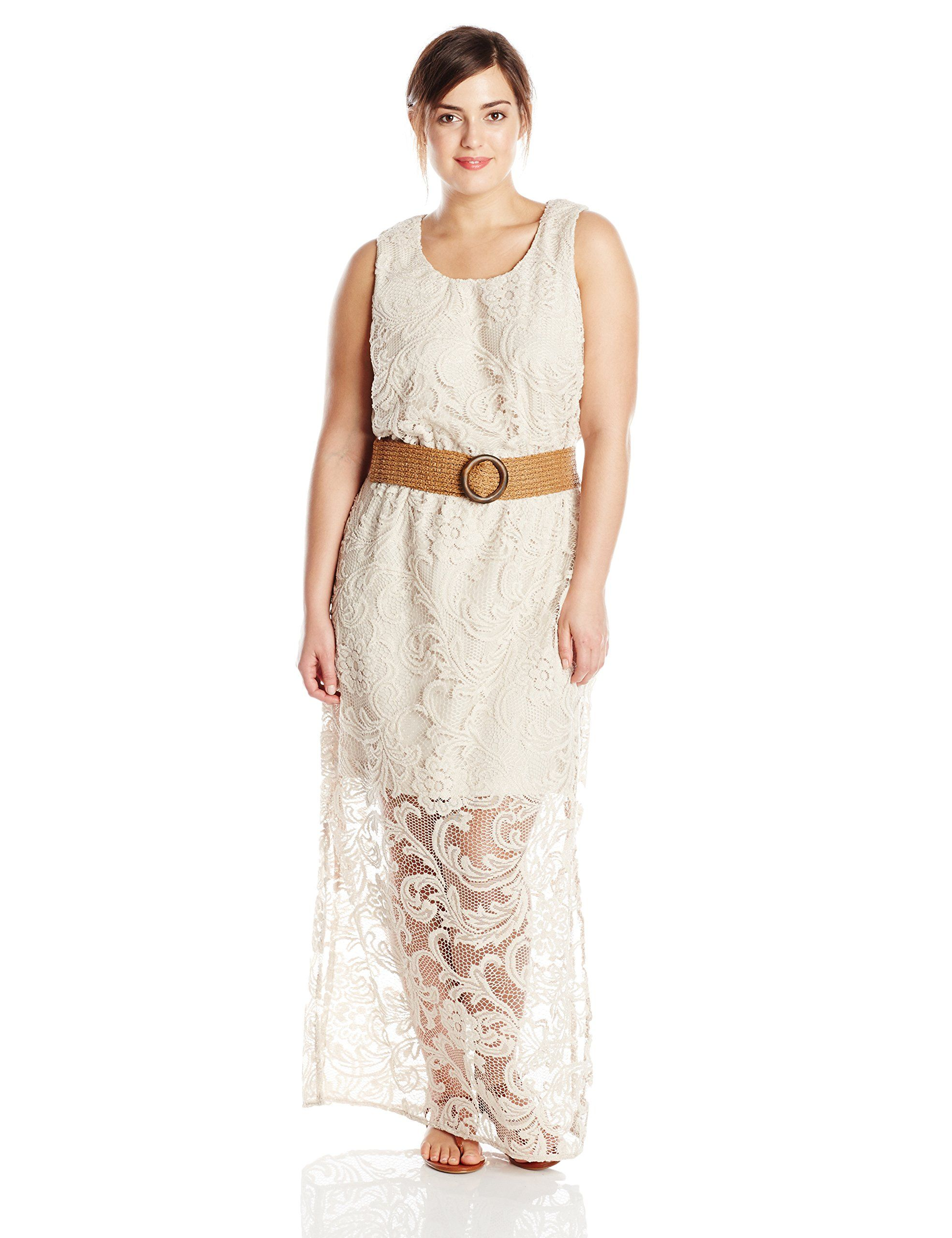 Jessica howard womenus plussize sleeveless lace maxi dress at