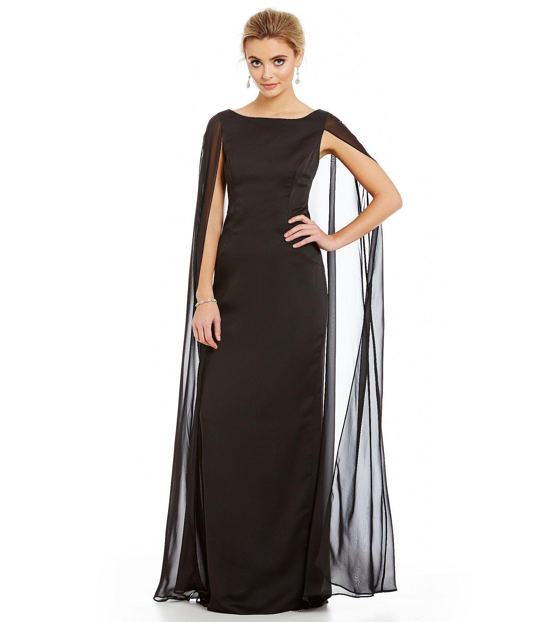 Adrianna papell chiffon cape gown dillards pinterest