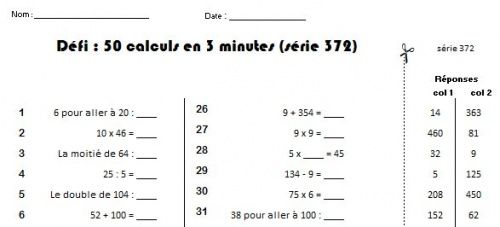 D fi calcul mental charivari ecole ce2 pinterest - Calcul mental table de multiplication ...