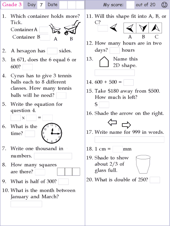 Mental Math Grade 3 Day 7 Mental Math Mental Maths Worksheets